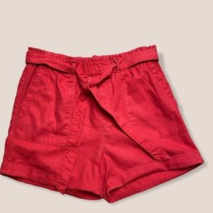 Sanctuary linen elastic hi-waist cuffed shorts